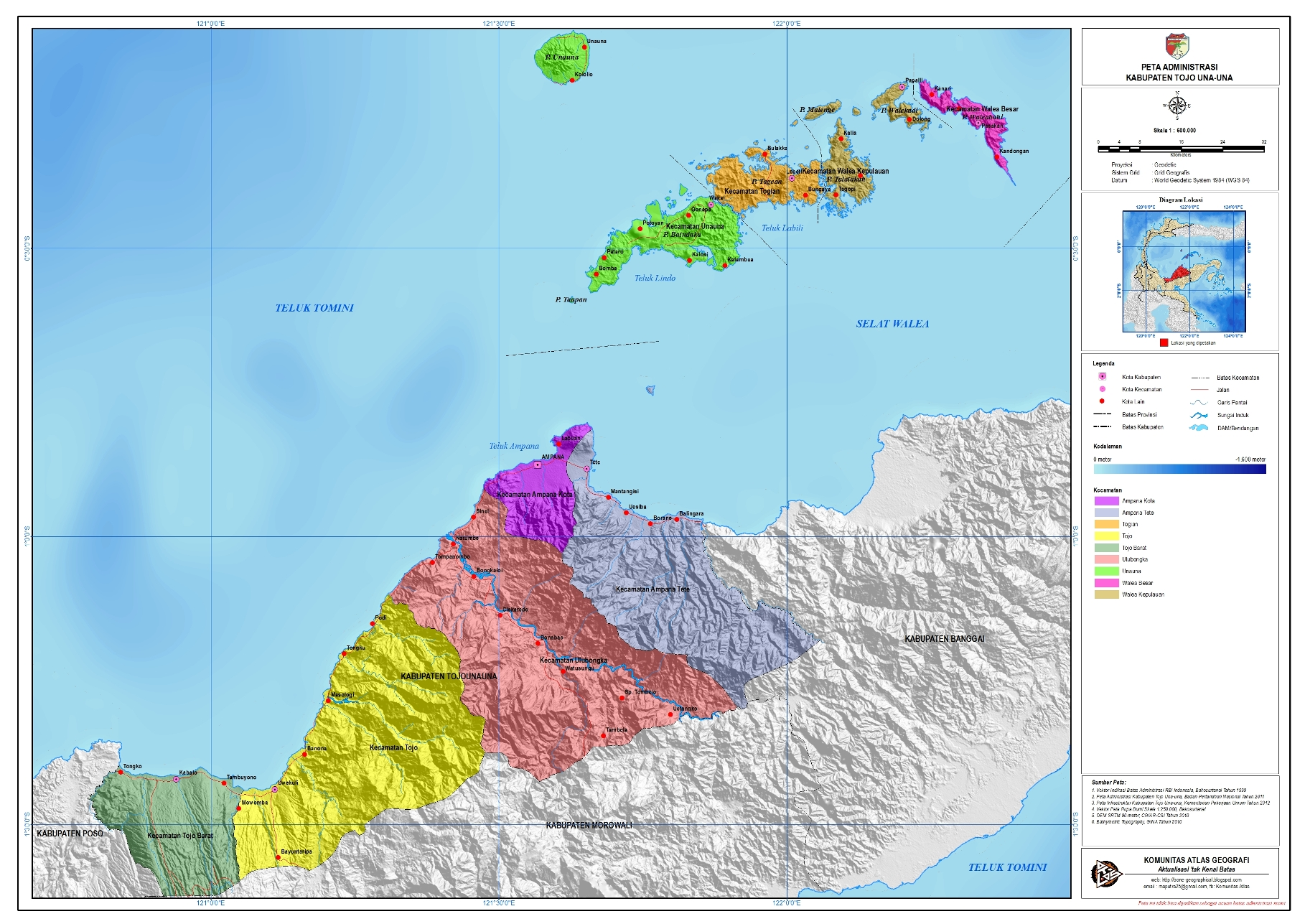 Pulau Una Una Indonesia  city photos : Administrasi Kabupaten Tojo Una una | Peta Tematik Indonesia